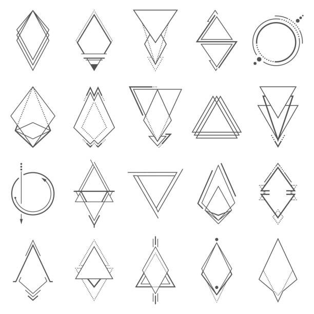 Set of minimalistic geometric elements vector art illustration