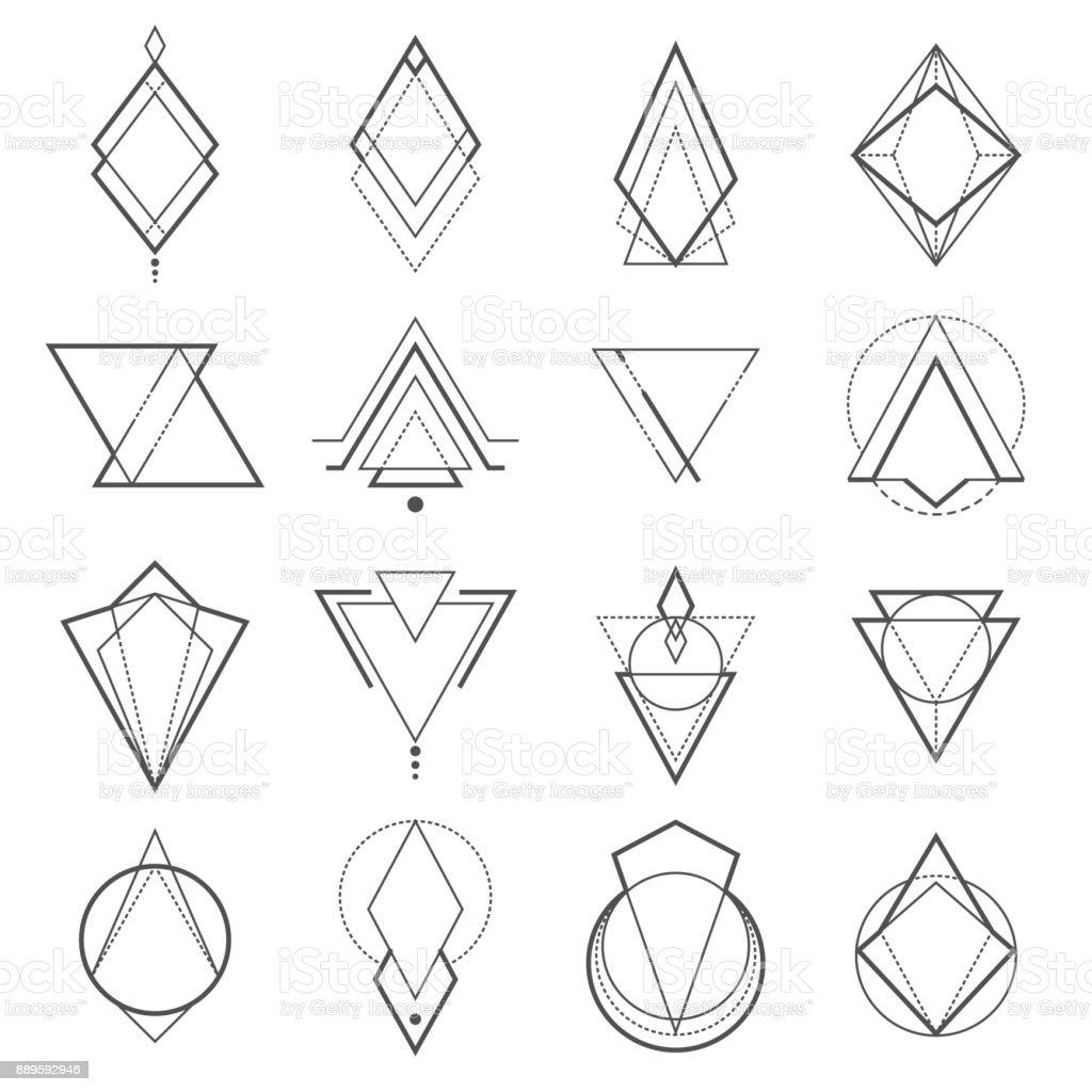 Conjunto de elementos geométricos minimalistas - ilustração de arte em vetor