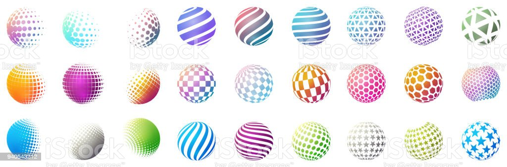 Set of minimalistic shapes. Halftone bright color spheres isolated on white background. Stylish emblems. Vector spheres with dots, stripes, triangles, hexagons for web designs. Simple signs collection royalty-free set of minimalistic shapes halftone bright color spheres isolated on white background stylish emblems vector spheres with dots stripes triangles hexagons for web designs simple signs collection stock illustration - download image now