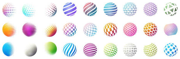 Set of minimalistic shapes. Halftone bright color spheres isolated on white background. Stylish emblems. Vector spheres with dots, stripes, triangles, hexagons for web designs. Simple signs collection vector art illustration