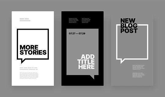 Set of minimalistic stories for social media story mockup.
