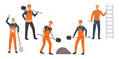 Set of mining workers. Group of cartoon characters working at construction site. Vector illustration can be used for presentation, housing project, building occupation