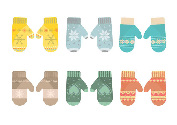 Set of mittens Set of mittens on white background. Vector illustration. mitten stock illustrations
