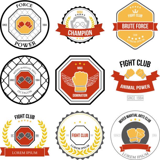 Set of Mixed Martial Arts labels, badges vector art illustration