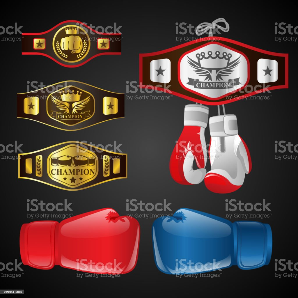 Set of MMA objects - modern vector realistic isolated clip art vector art illustration