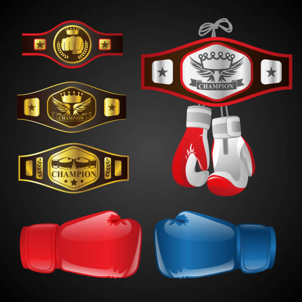 set of mma objects - modern vector realistic isolated clip art - wrestling stock illustrations, clip art, cartoons, & icons