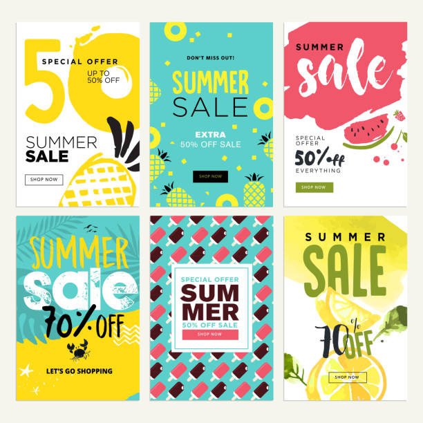 set of mobile summer sale banners - summer background stock illustrations