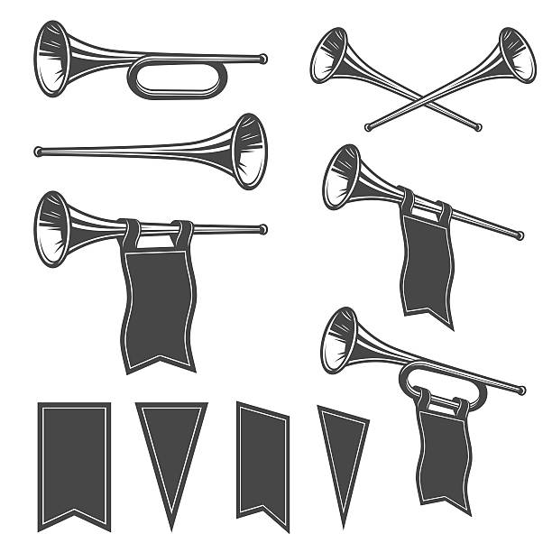 stockillustraties, clipart, cartoons en iconen met set of mobochrome fanfare - trompet
