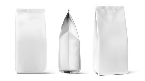 Set of mockup bags isolated on white background.