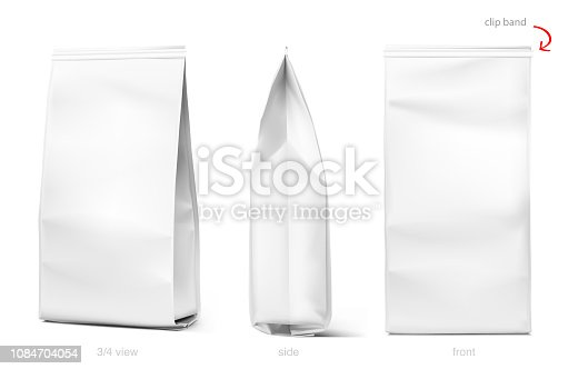 Set of mockup bags with clip band isolated on white background.