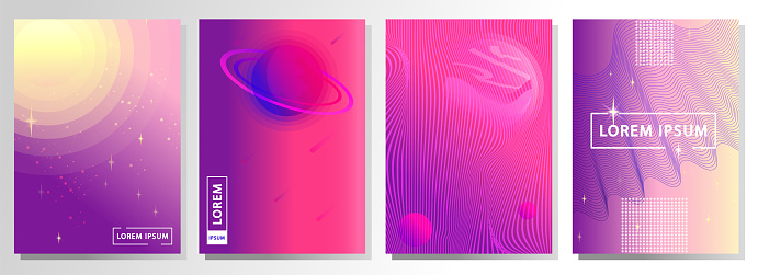 Set of modern abstract background. Futuristic, space  style
