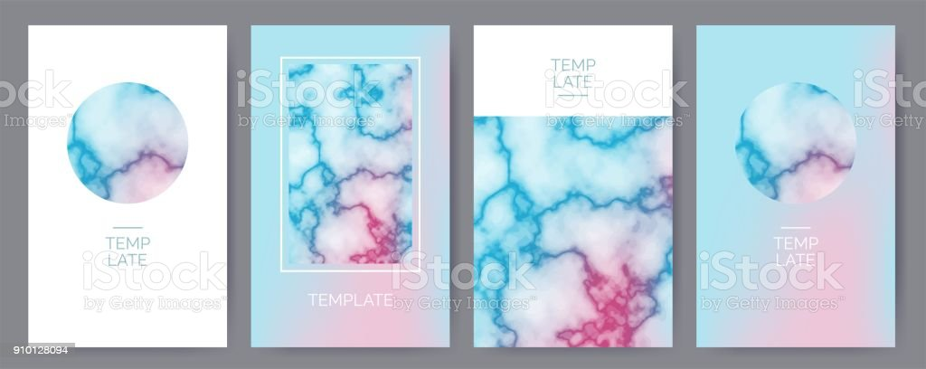 Set of modern abstract backgrounds with marble texture vector art illustration