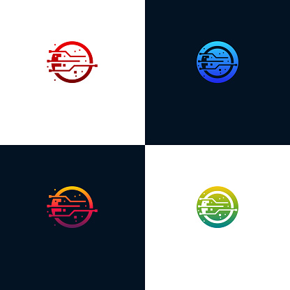 Set Of Modern Abstract Circle Technology logo template, Wire Tech logo designs vector, Logo symbol icon