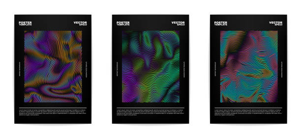 Set of modern abstract covers Set of modern abstract posters. Covers collection. Colorful bright stripes, vivid gradients. Vector, isolated, eps 10. psychedelic stock illustrations