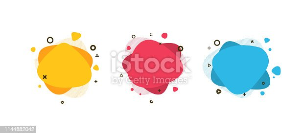 istock Set of modern abstract liquid shapes and banners. Fluid design. Isolated gradient waves with geometric lines, dots. Vector Illustration. Vibrant badges. 1144882042