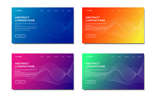 Set of modern abstract web banner template, landing page vector