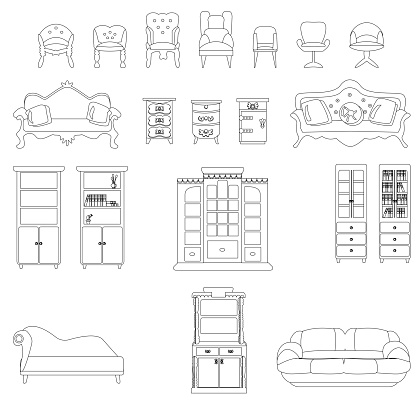 Set of modern and antique office chairs, armchairs, bookcases, nightstands, sofas, isolated on a white background. Vector illustration in sketch style. Collection of furniture for office, study