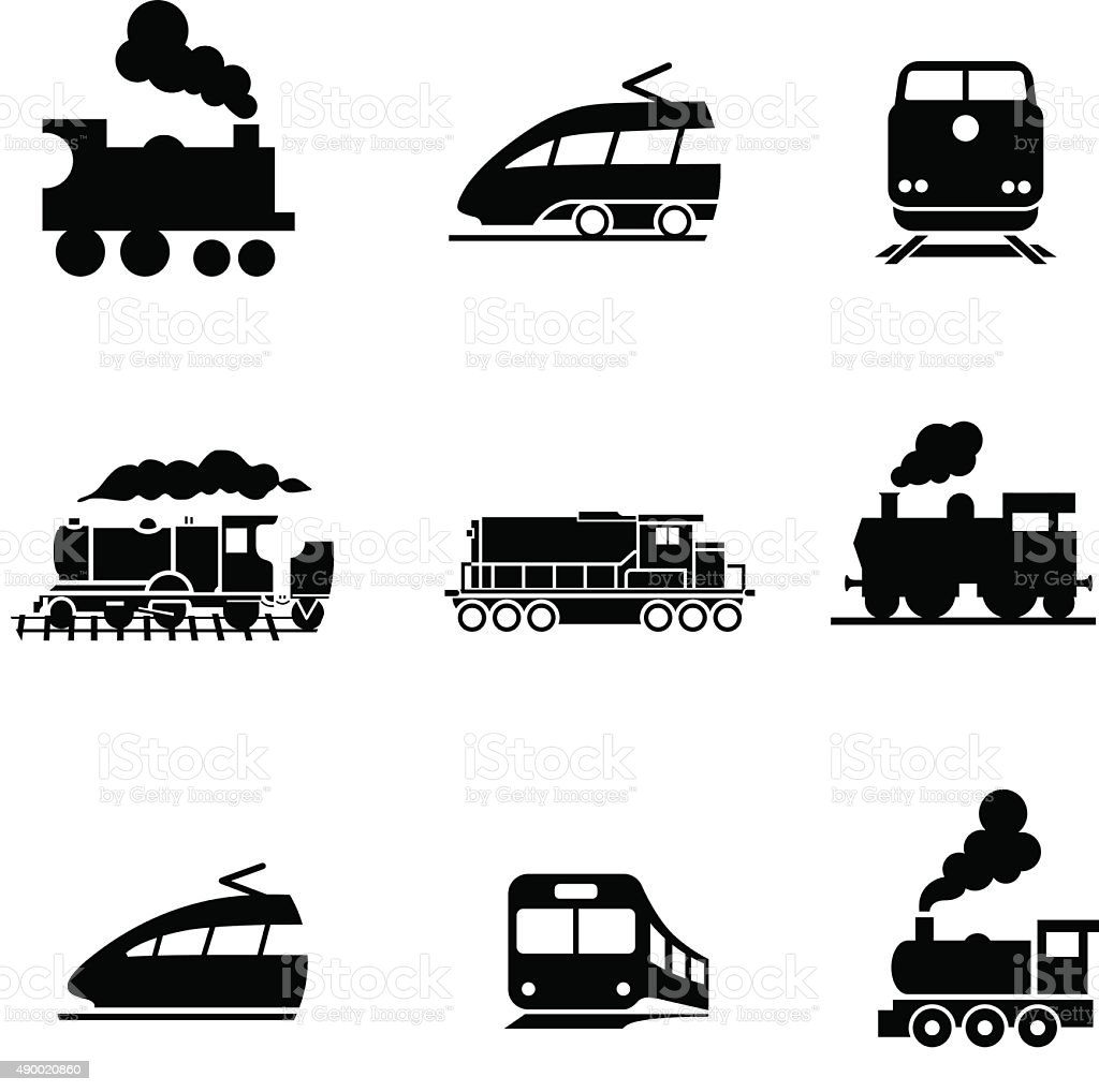 Set of modern and old train. Vector pictogram vector art illustration