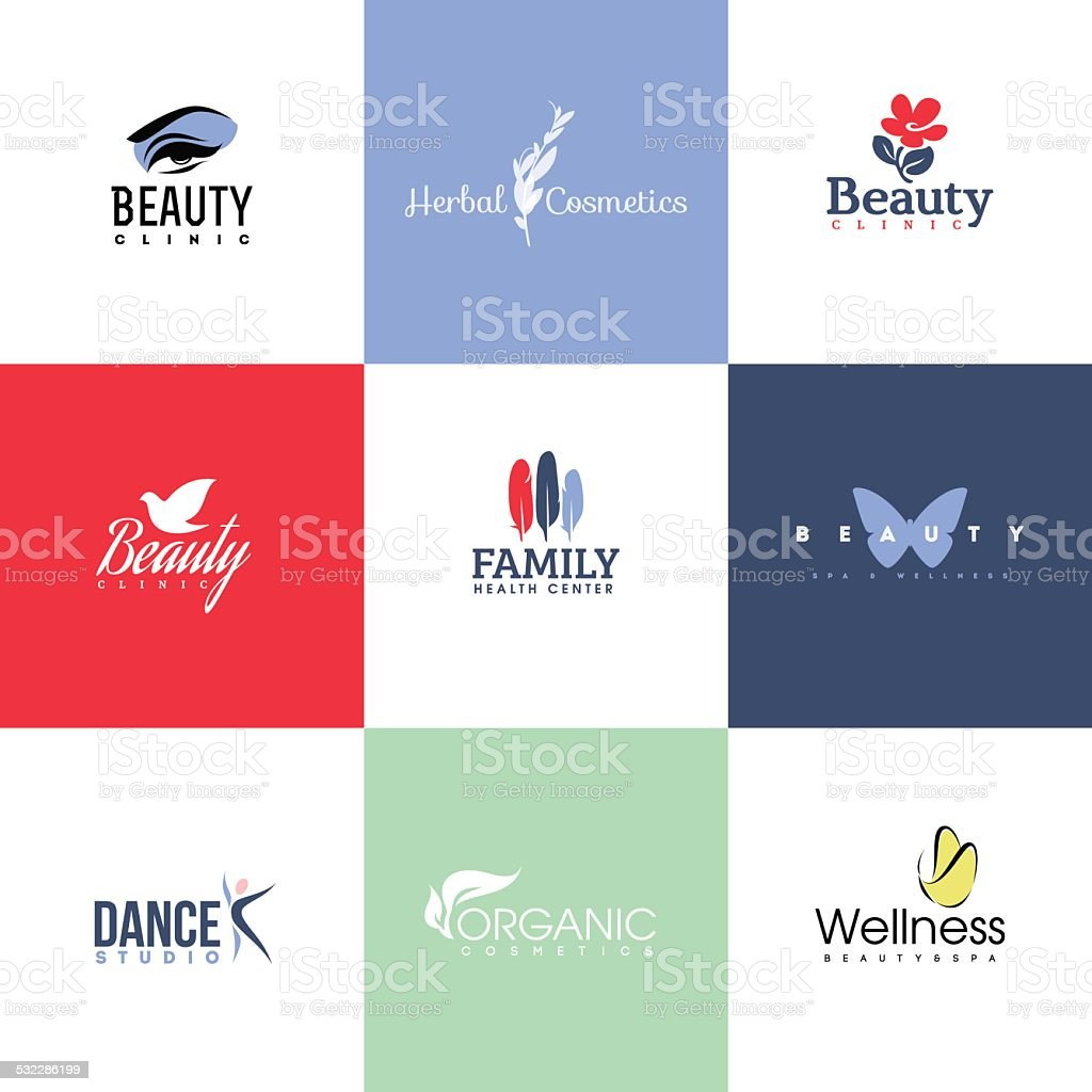 Set of modern beauty & nature logo templates and icons vector art illustration