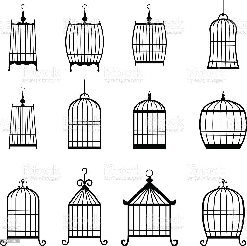 Set of modern bird cages. editable vector art illustration