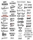 Set of Modern Brush Calligraphy - Halloween