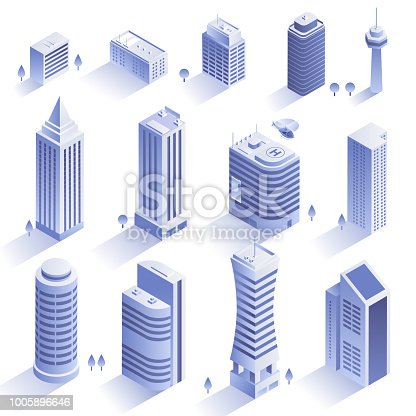 Set of modern buildings. City skyscrapers in isometric style isolated on white backround. Collection of urban architecture. Residential and office buildings. Vector eps 10.