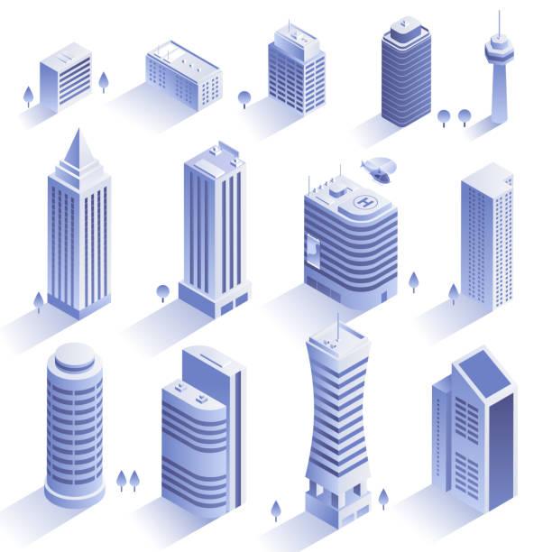 reihe von modernen gebäuden. wolkenkratzer in der isometrische art isoliert auf weißem hintergrund. sammlung der städtischen architektur. wohn- und bürogebäuden. vektor eps 10. - turm bauwerk stock-grafiken, -clipart, -cartoons und -symbole