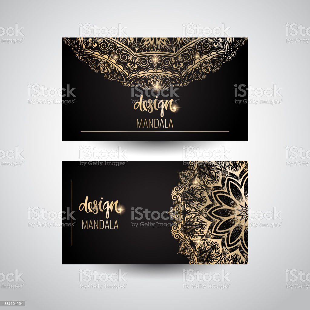 Set of modern business card templates with beautiful gold indian set of modern business card templates with beautiful gold indian ornament mandala royalty free cheaphphosting Gallery