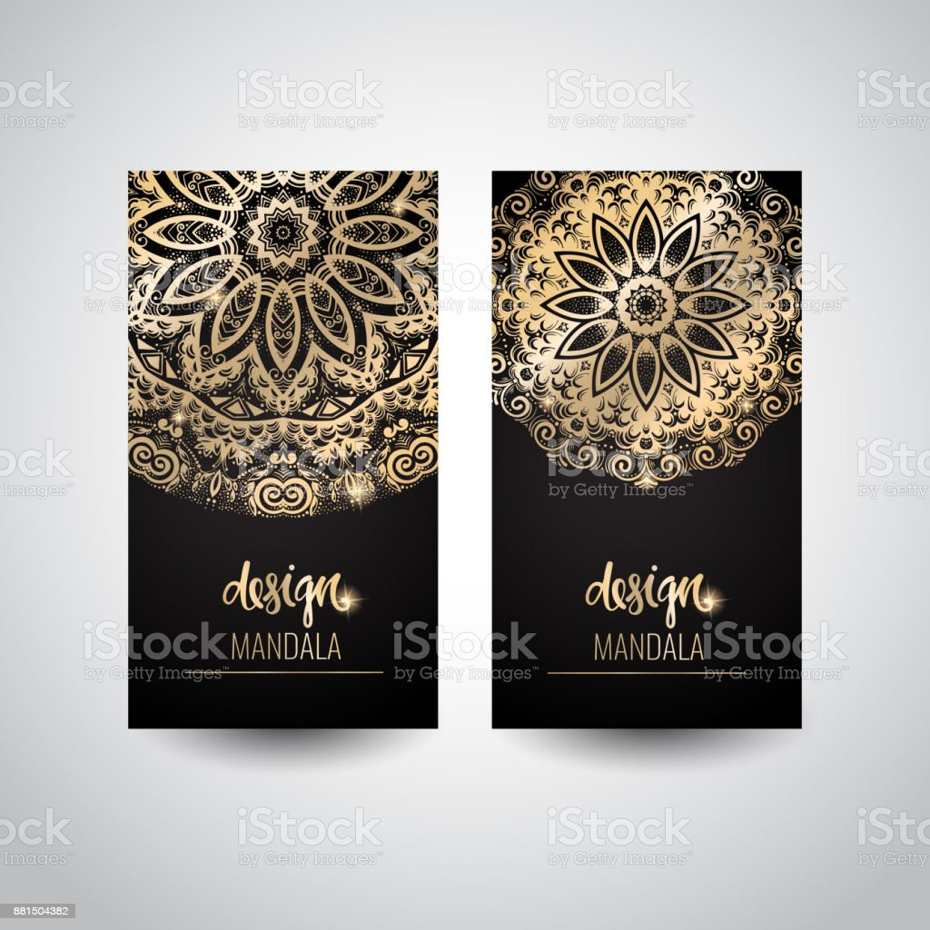 Set of modern business card templates with beautiful gold indian set of modern business card templates with beautiful gold indian ornament mandala royalty free reheart Image collections