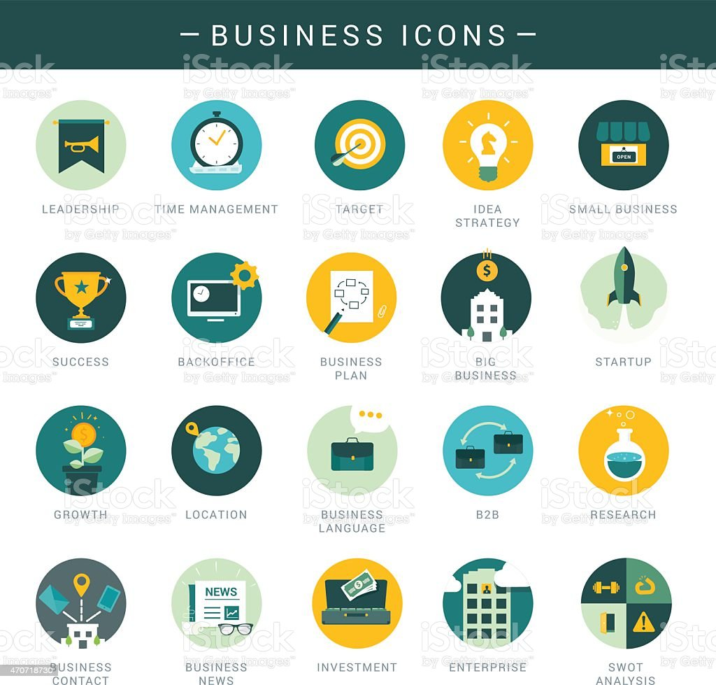 Set of modern business icons vector art illustration