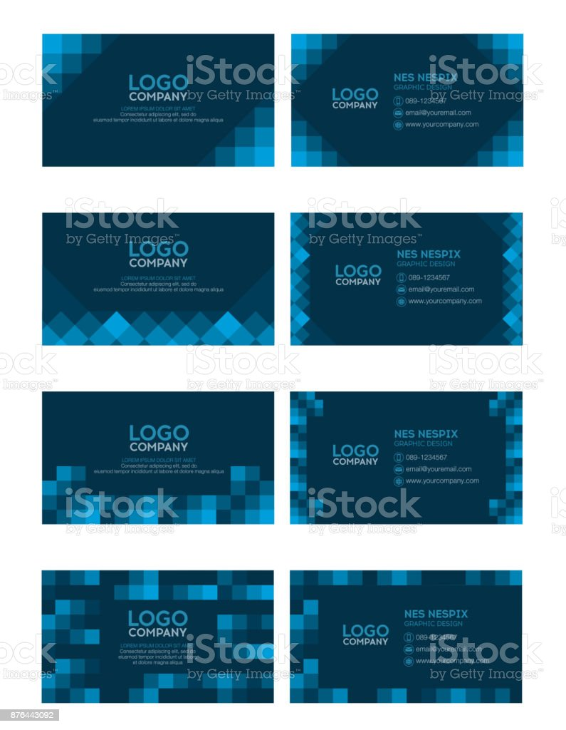 Set of modern business name card template dark blue color stock set of modern business name card template dark blue color royalty free set of friedricerecipe Images