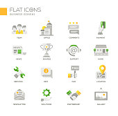 Set of modern business office flat design icons and pictograms