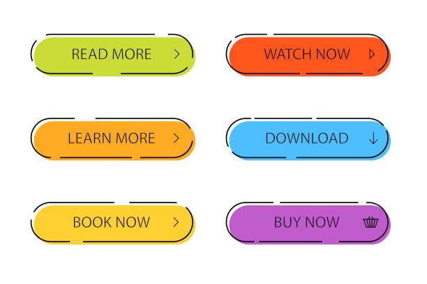 用於資訊圖、web、橫幅的現代按鈕集。五顏六色的呼叫動作圖示在平面風格。隔離背景上的資訊圖橢圓按鈕。現代導覽按鈕。向量插圖 - 按鈕 幅插畫檔、美工圖案、卡通及圖標