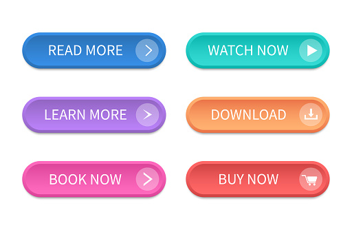 Set of modern buttons for web site and ui.
