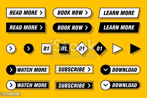 Set of modern buttons in different designs and colors like yellow, black, white. Ready to use in your web page or mobile app design. Infographic elements.