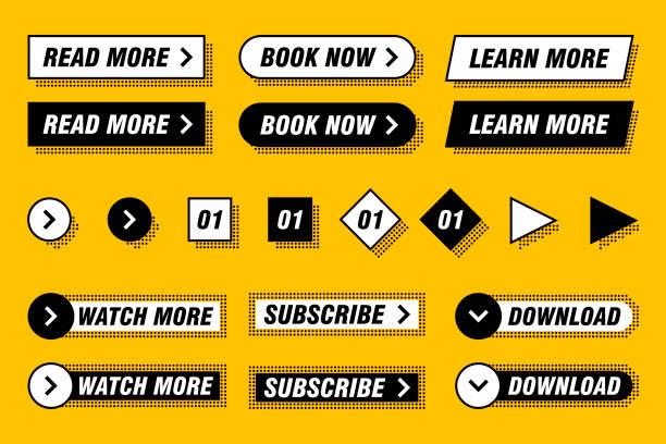 不同設計和顏色的現代按鈕集,如黃色、黑色、白色。已準備好用於您的網頁或移動應用設計 - 按鈕 幅插畫檔、美工圖案、卡通及圖標