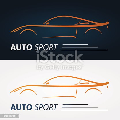 Set Of Modern Car Emblems Sports Car Silhouette Icon Design Template