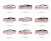 Set of modern car logo design templates. Abstract car silhouettes with space for text or company name isolated on white background. Vector illustration
