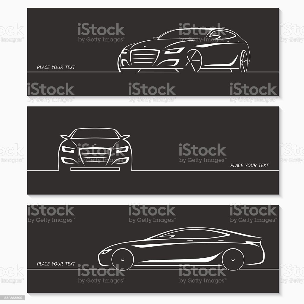 Set of modern car silhouettes. vector art illustration