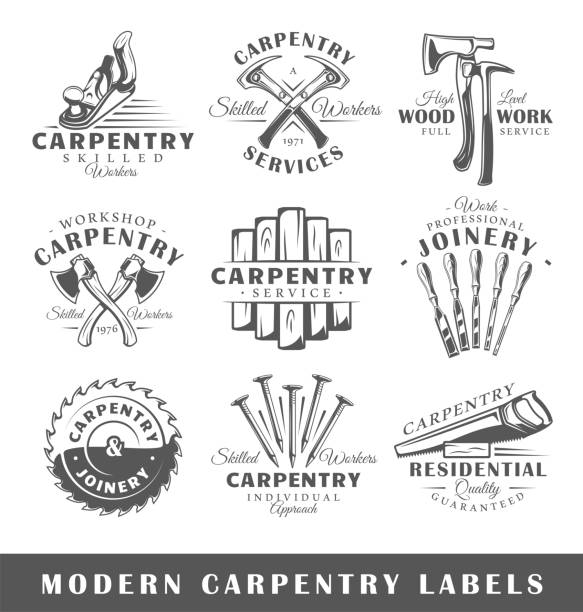 Set of modern carpentry labels Set of modern carpentry labels.  Posters, stamps, banners and design elements. Vector illustration electric saw stock illustrations