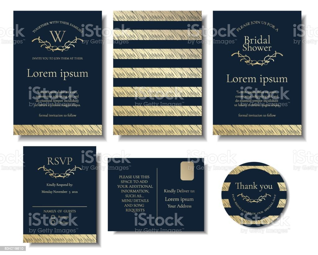 Set of modern chic gold on navy blue color wedding invitation card set of modern chic gold on navy blue color wedding invitation card vector illustration stopboris Gallery