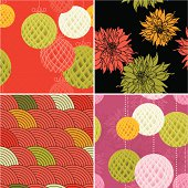 Set of four Modern Chinese Patterns. (Lamps, Dahlia patten and circle pattern). Vector.