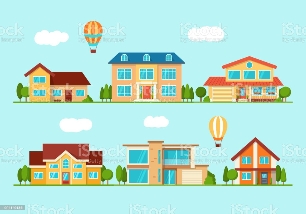 Set of modern city cottage house, front view royalty-free set of modern city cottage house front view stock illustration - download image now