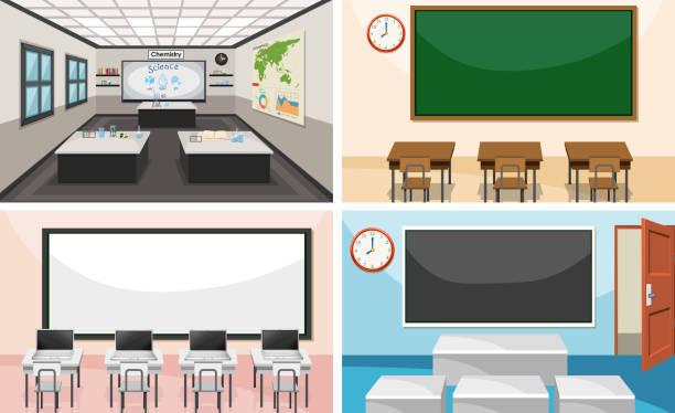 bildbanksillustrationer, clip art samt tecknat material och ikoner med uppsättning av moderna klassrum - klassrum