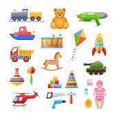 Set of modern colorful children's toys. Toys educational, sports, developing