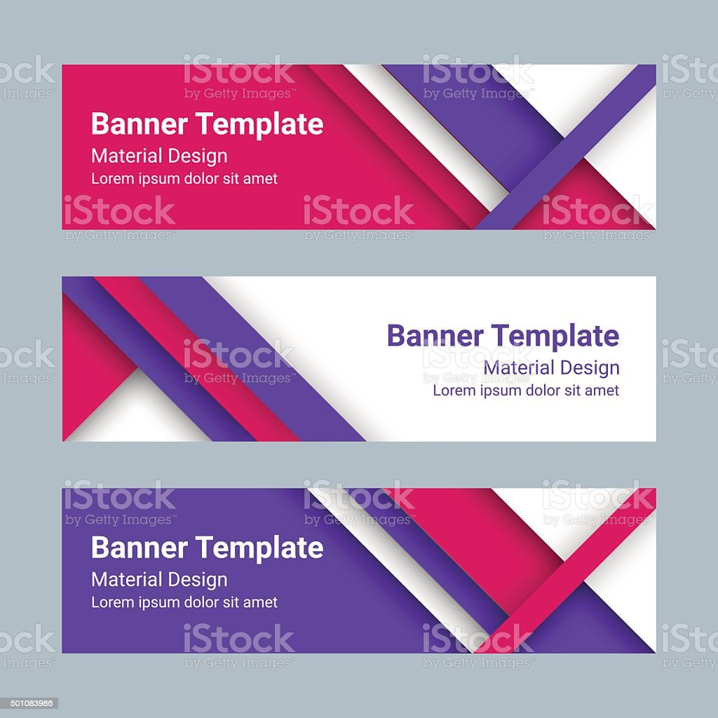 Design vector banner - Set Of Modern Colorful Horizontal Vector Banners Material Design Style Royalty Free Stock