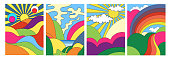 Set of four different modern colorful psychedelic landscapes with stylised mountains, rainbow over countryside, sea and hills, colored vector illustration for posters or covers