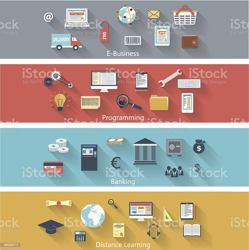 Set of modern concepts in flat design royalty-free set of modern concepts in flat design stock vector art & more images of analyzing