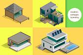 Set of modern cottages