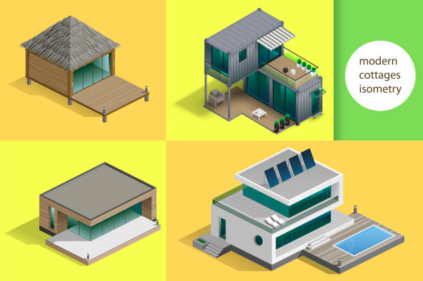 Set of modern cottages Set of modern cottages and houses in isometric schemes. Vector graphics cottage stock illustrations